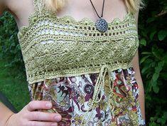 Nell pattern by Berroco Design Team Add a crochet yoke to a fabric top. free pattern by Berroco Design Team on ravelry. Crochet Skirt Pattern, Crochet Yoke, Crochet Fabric, Crochet Collar, Crochet Blouse, Diy Crochet, Crochet Tank, Crochet Bodycon Dresses, Black Crochet Dress