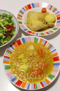 Κοτόσουπα με κουρκουμά και κριθαράκι Chicken, Meat, Soups, Food, Essen, Soup, Yemek, Buffalo Chicken, Cubs