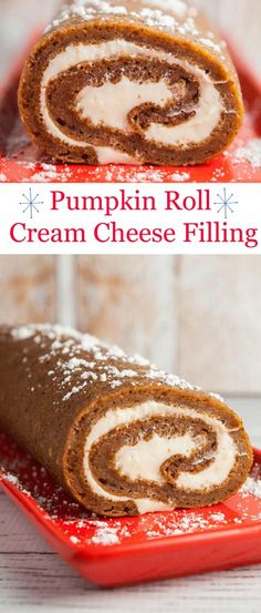 A delicious and moist Pumpkin Roll with creamy cream cheese filling inside.