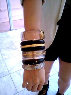 Arm partying it - Some Dark Garden bangles mixed with basic Lucite bangles #TresChic