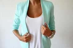love this blazer cut! not sure I could pull off the color