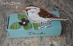Spatz Sperling Matchbox Blütenpoesie Stampin' Up! Vogelhochzeit Vogel KreativStanz http://kreativstanz.bastelblogs.de #matchbox #bird