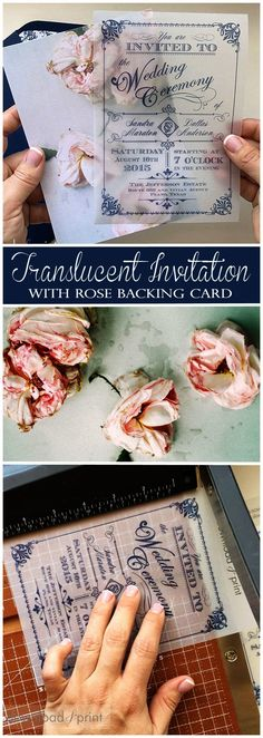 Gasp worthy translucent wedding invitation with vintage rose backing card. So so… Gasp worthy translucent wedding invitation with vintage rose backing card. So so beautiful. Plus it's easy to DIY, and the rose template is FREE!