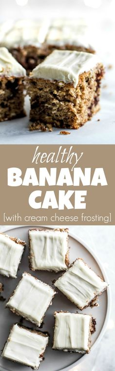 Healthy Banana Cake made without butter or oil, but so tender and flavourful that you'd never be able to tell. Topped with a lightened-up cream cheese frosting, this delicious banana-flavoured cake feels decadent but is actually surprisingly healthy | runningwithspoons...