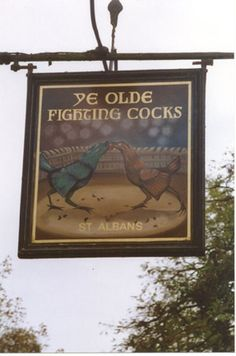 Ye Olde Fighting Cocks in St Albans claims to be the oldest pub in Britain. In a time when few could read, pub signs advertised the entertainment on offer inside. Cock fighting was one of many blood sports carried on at pubs and involved 2 specially trained roosters fighting in a pit whilst spectators bet heavily. One purse in 1830 is said to have been worth £370,000 today. The circular shape of this pub made it the perfect venue. For more details see http://completetext.com/ebookspubs.html