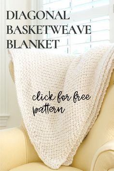 Download the Free PDF and begin to knit this DIY Blanket using the Diagonal Basketweave Stitch. The Diagonal Basket Weave Stitch creates a lovely woven pattern, resulting in a throw perfect for your home or gifting. Video showing stitch technique #DIY #Blanket #Pattern #Knitting #KnitBlanket #nourishandnestle #howto #project