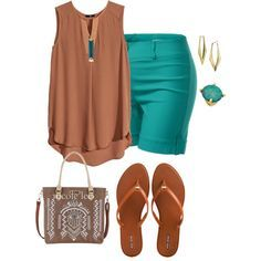 """plus size summer with browns"" by kristie-payne on Polyvore"