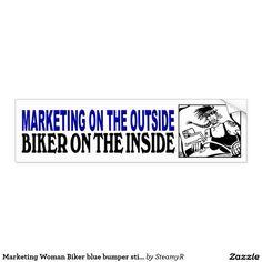 Marketing Woman Biker blue bumper sticker