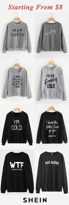 Slogan sweatshirts start at $8!