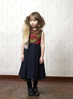 Xenia Joost, Estonian kids fashion for winter 2012 ethnic style embroidery and a touch of Eastern European fur! My Kid is screwed...LOVE this