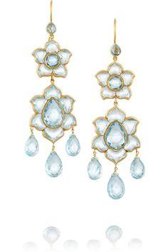 MUNNU The Gem Palace|Lotus 22-karat gold aquamarine earrings|NET-A-PORTER.COM