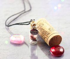 Rose quartz gemstone necklace - Wish bottle necklace - Rhodonite gemstone necklace - Silver love charm - Potion bottle necklace - Prom gift