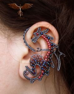 Wire wrapped and beaded dragon ear wrap