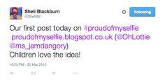 Teachers creating #proudofmyselfie blogs for their school.