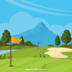 Golf course background in hand drawn style Free Vector