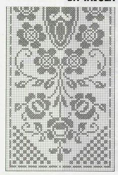 Crochet Tablecloth Pattern, Tapestry Crochet Patterns, Crochet Curtains, Crochet Motif, Cross Stitch Designs, Stitch Patterns, Cross Stitch Fruit, Crochet Dollies, Filet Crochet Charts