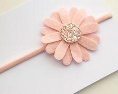 Pink Baby Headband, Pink flower headband, baby nylon headband, blush flowercrown, handmade headband