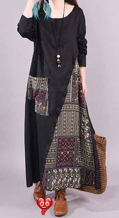 Chemises longues en lin français Metropolitan Museum style ethnique imprimé femme Ramie Bla ....  <br> Ethnic Fashion, Hijab Fashion, Fashion Dresses, Womens Fashion, Linen Dresses, Cotton Dresses, Dresses With Sleeves, Dresses Dresses, Kleidung Design
