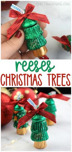 Make some fun reeses christmas trees...fun christmas gift ideas! Christmas treats to give! Rolos, reeses, and hershey chocolate kisses!