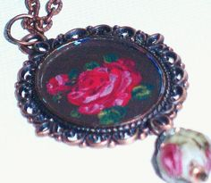 Hand Paint Victorian Pendant Necklace Boho by GoddessArtCollection