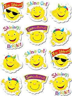 Suns Stickers by Creative Teaching Press Teacher Stickers, Reward Stickers, Reward Chart Template, Award Template, English Grammar For Kids, Funny Emoji Faces, Pig Crafts, Creative Teaching Press, Star Students