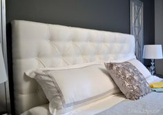 DIY tufted headboard - added wood for thickness