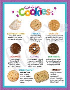 LBB Girl Scout Cookie Menu x 11 printable - Girl scouts - Scout Mom, Girl Scout Swap, Girl Scout Leader, Daisy Girl Scouts, Girl Scout Troop, Cub Scouts, Girl Scout Cookie List, Brownie Girl Scouts, Gs Cookies