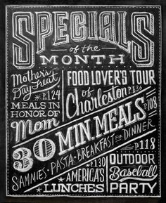 Specials board typography...make specials for myself board