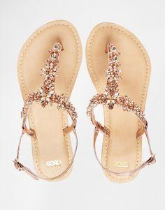ASOS FIJI Wide Fit Embellished Leather Flat Sandals at ASOS. Leather Sandals Flat, Flat Sandals, Shoes Sandals, Bridal Flats, Wedding Shoes Heels, Mystique Sandals, Asos, Summer Shoes, Designer Shoes