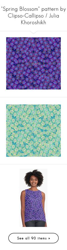 """""""""""Spring Blossom"""" pattern by Clipso-Callipso / Julia Khoroshikh"""" by clipso-callipso ❤ liked on Polyvore featuring home, home decor, bloom, floral, spring home decor, blue home accessories, blue home decor, pink home decor, pink home accessories and floral home decor"""