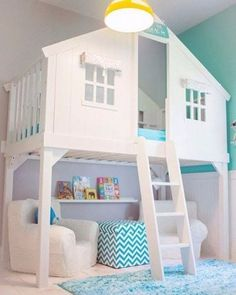 Tree house bed with reading nook underneath. Tree House Bed via House of Turquoise and other totally cool kids bedrooms