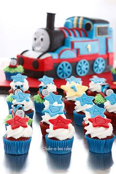 Thomas mini cupcakes by Bake-a-boo Cakes Mini Cupcakes, Thomas Cupcakes, Yummy Cupcakes, Wedding Cupcakes, Cupcake Cakes, Train Cupcakes, Cupcake Ideas, Pretty Cakes, Beautiful Cakes