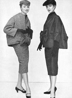 Suzy Parker(r), photo by John Rawlings, 1953