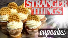 Stranger Things Cupcakes :: maple cupcakes with eggo waffles
