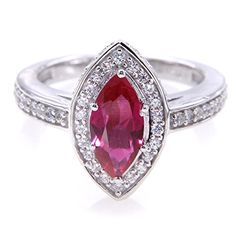 UP LINK Womens Corundum 925 Sterling Silver Rhodium Plated Ring Mariquesa Red *** To view further for this item, visit the image link.Note:It is affiliate link to Amazon.
