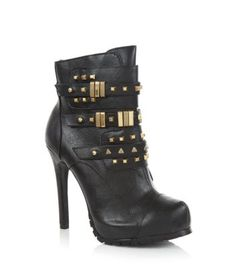 Black Stud Buckle Heeled Ankle Boots