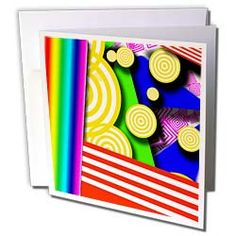 Yellow, Red, Pink, Green, Aqua Stripes and Floating Discs in a Three D Type Shadow Box Greeting Card