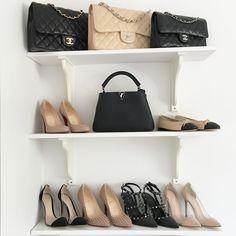 Dream Team| Chanel Classic flap, Chanel Classic cap toe ballerinas, Christian Louboutin heels, Valentino Rockstud heels, Gianvito Rossi Plexi heels, Louis Vuitton Capucines bb