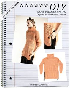 ::: OutsaPop Trashion ::: DIY fashion by Outi Pyy :::: DIY idea - Zipper sweater
