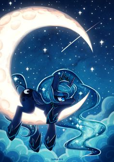 Princess Luna remember you have wings?!? You can just fly off the moon! :P