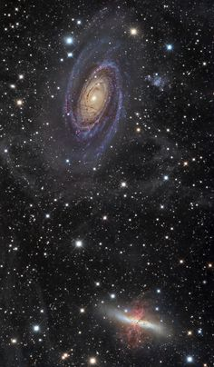 M 81 (Bode's Galaxy), M 82 (Cigar Galaxy) and part of IFN,   Messier 81 (Bode's Galaxy or NGC 3031) and Messier 82 (Cigar Galaxy or NGC 3034) are respectively spiral and starburst galaxy about 12 million light-years away in the constellation Ursa Major.This couple is seen through the faint glow of an Integrated Flux Nebulae (or IFN). Credit: Emil Ivanov Ciel Nocturne, Andromeda Galaxy, Star Formation, Deep Space, Space Photos, Space Images, Cosmos, Outer Space, Nebulas