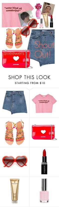 """""""SHOUT OUT! @veewers"""" by elliewriter ❤ liked on Polyvore featuring Elina Linardaki, Love Moschino, Smashbox, Elizabeth Arden and Topshop"""