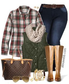 Plus Size Plaid Shirt & Vest Outfit - Plus Size Fashion for Women - alexawebb.com #alexawebb