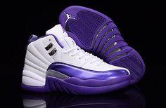 573aada870e5 2017 New Air Jordan 12 GS Kings Purple White Womens Shoes Air Jordan 12  Retro
