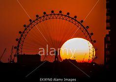 London, UK. 14th April, 2015. Dark #Sunset behind #LondonEye © Guy Corbishley/Alamy Live News