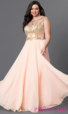 Image of peach pink plus long prom dress with embroidery. Style: DQ-9266Pp Front Image