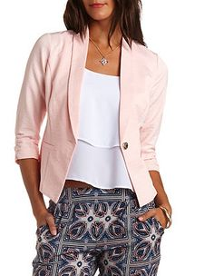 Hammered Single Button Blazer: Charlotte Russe