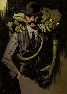 This is some art I got as part of a Kickstarter for the Rise of Cthulhu game. Consult all legal stuff below. The artist is James Daly copyri. Dude with demon Steampunk, Fantasy Kunst, Fantasy Art, Lovecraftian Horror, Eldritch Horror, Darkest Dungeon, Traditional Ink, Call Of Cthulhu, Horror Art