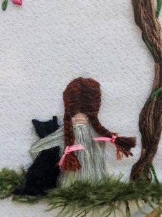 Picture Girl with black cat Cherry blossoms Hand embroidery wall art painting ribbon embroidery Embroidered painting Decor for girl Gift Hand Embroidery Videos, Hand Embroidery Flowers, Flower Embroidery Designs, Hand Embroidery Stitches, Silk Ribbon Embroidery, Embroidery Hoop Art, Painting Of Girl, Needlework, Couture