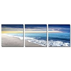 Framed Blue Sky Beach Seascape Modern Picture Wall Art Canvas Prints Home Decor #TheDecorShop #Expressionism